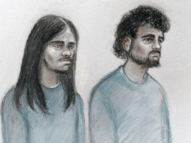 Court sketch of Naa'imur Zakariyah Rahman and Mohammed Aqib Imran