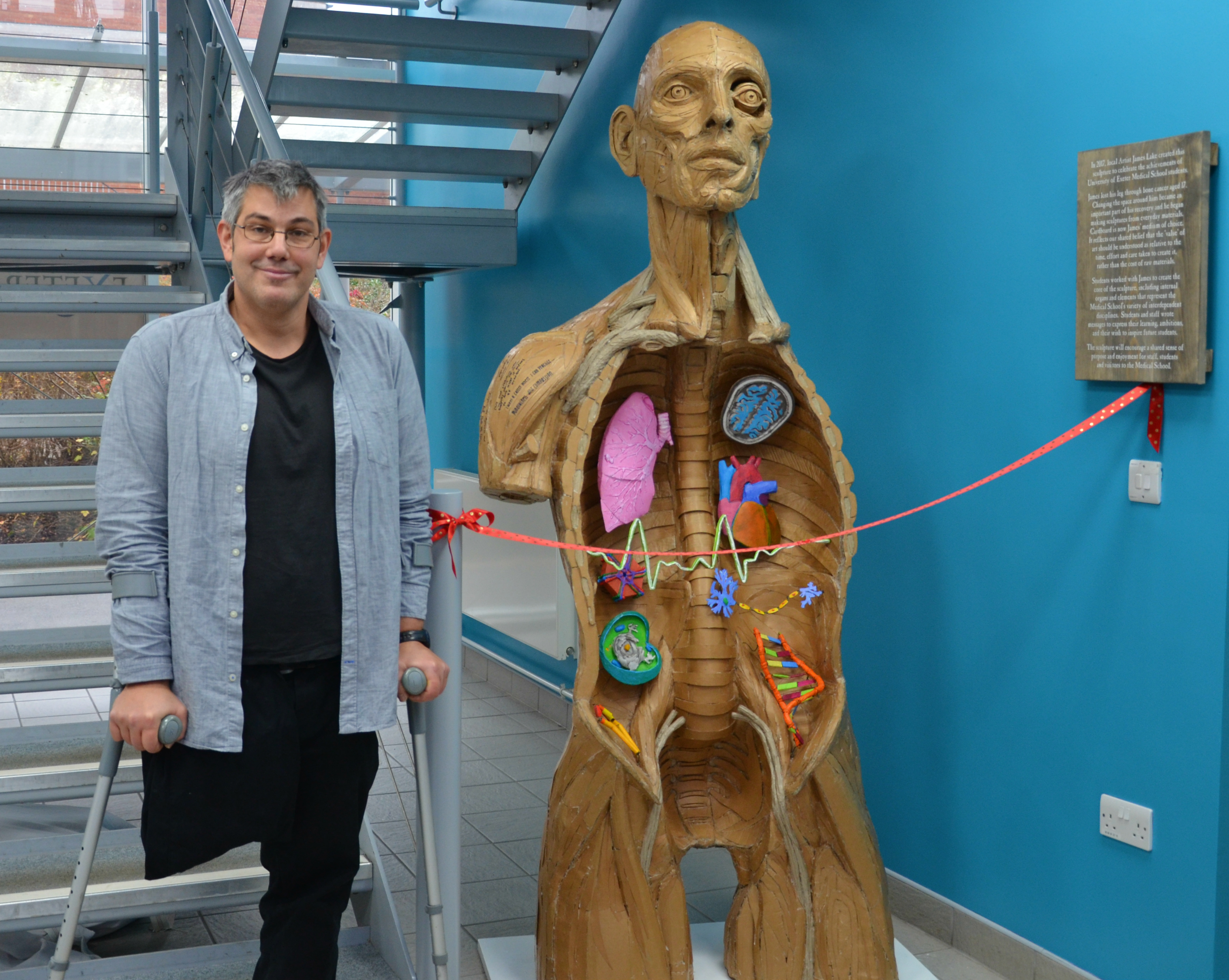 Artist James Lake worked with students from Exeter Medical School to create a stunning sculpture from cardboard (Azure Photography/PA)