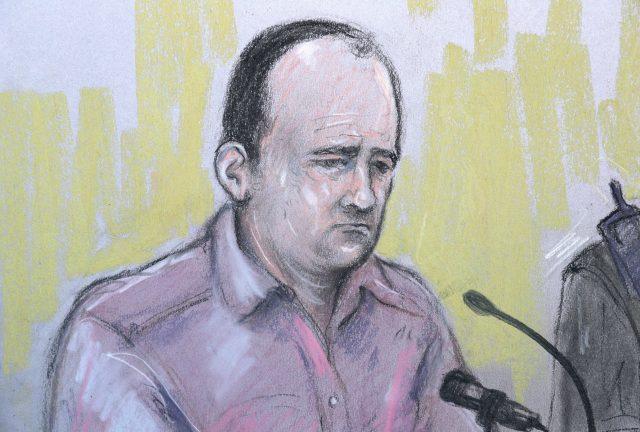Court artist sketch of Poppi's father, Paul Worthington (Elizabeth Cook)