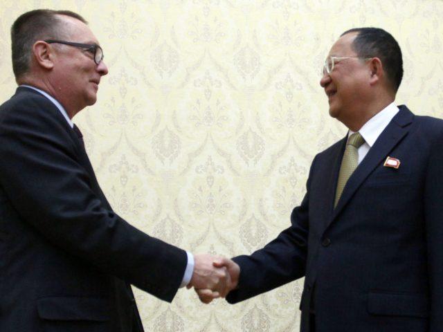 The UN's Jeffrey Feltman meets Foreign Minister Ri Yong Ho in Pyongyang (Jon Chol Jin/AP)