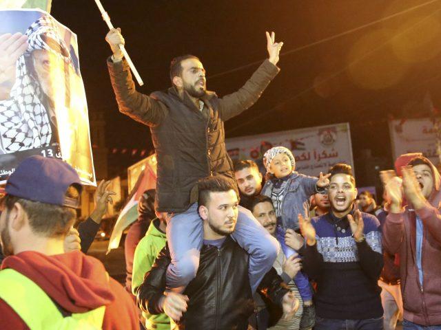Protests in Gaza City following the news (Adel Hana/AP)