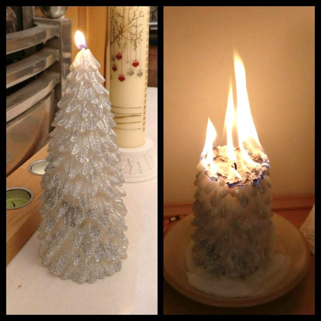 A Primark Christmas candle burning up into a large flame (Jenny Ferneyhough/Facebook/PA)