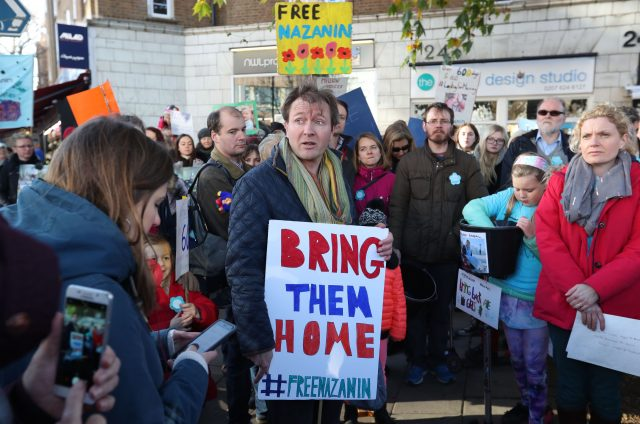 Richard Ratcliffe and supporters have held rallies calling for his wife to be freed (Jonathan Brady/PA)
