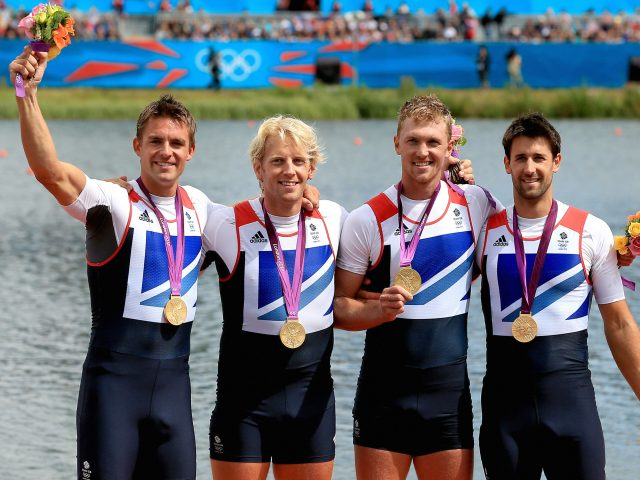 Great Britain's Men's Four of (left to right) Pete Reed, Andrew Triggs Hodge, Alex Gregory and Tom James celebrate winning gold at London 2012 (Stephen Pond/PA)