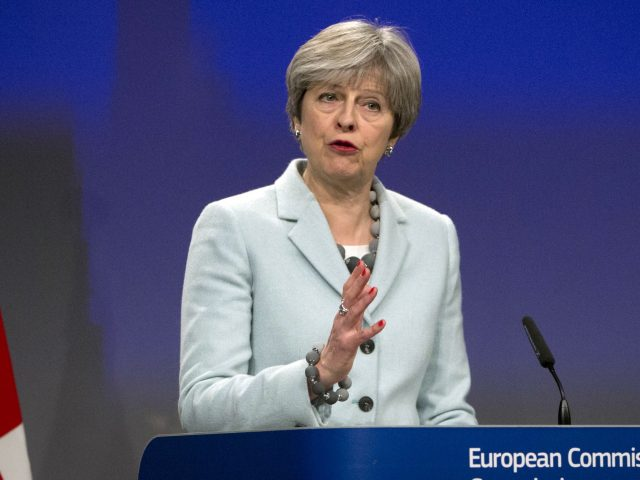 Prime Minister Theresa May during a news conference in Brussels (Virginia Mayo/AP)