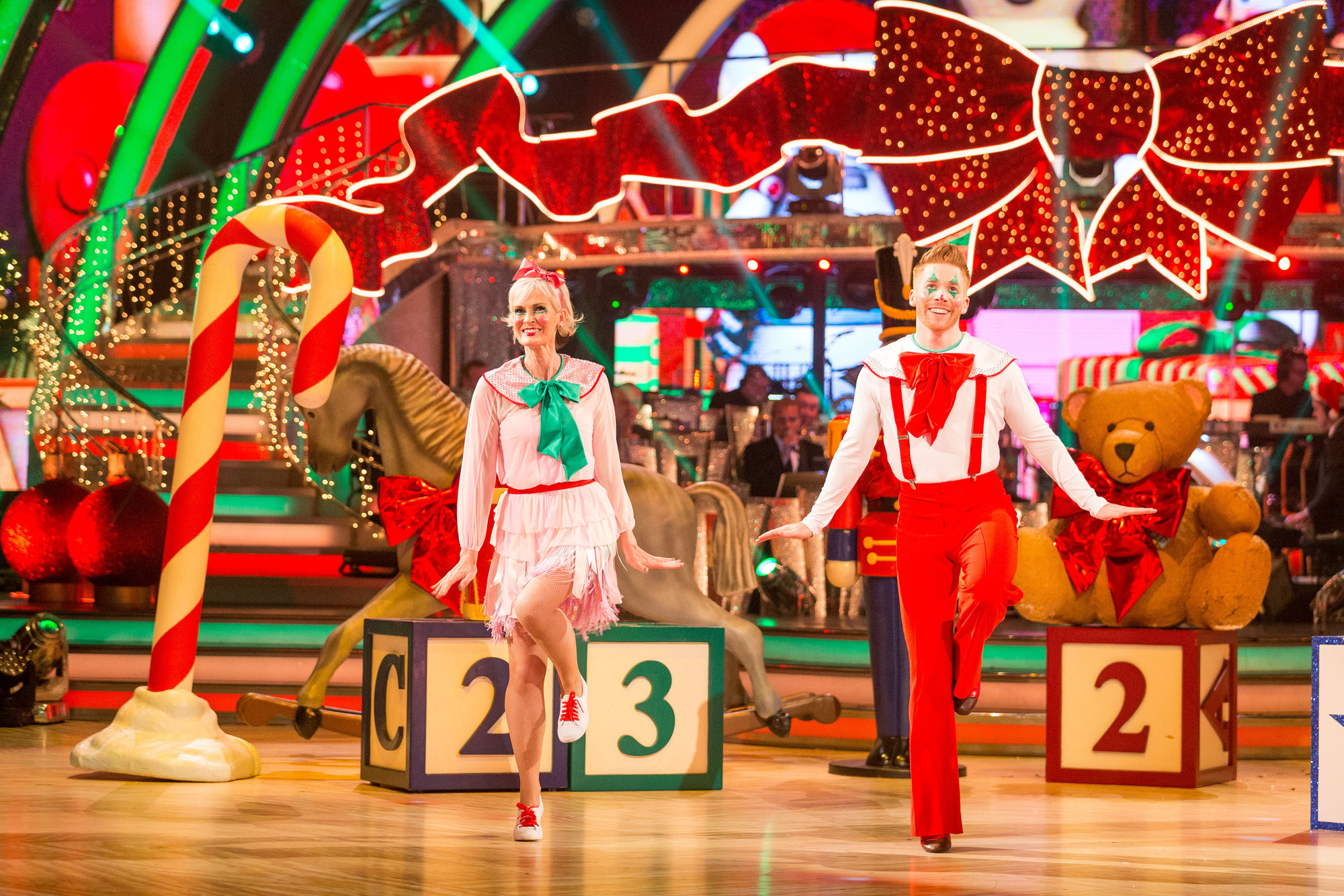 Stars Dress Up In Festive Finery For Strictly Christmas