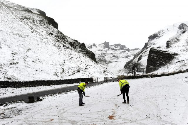 Car parks are gritted at Winnats Pass in the Peak District. (John Giles/PA)