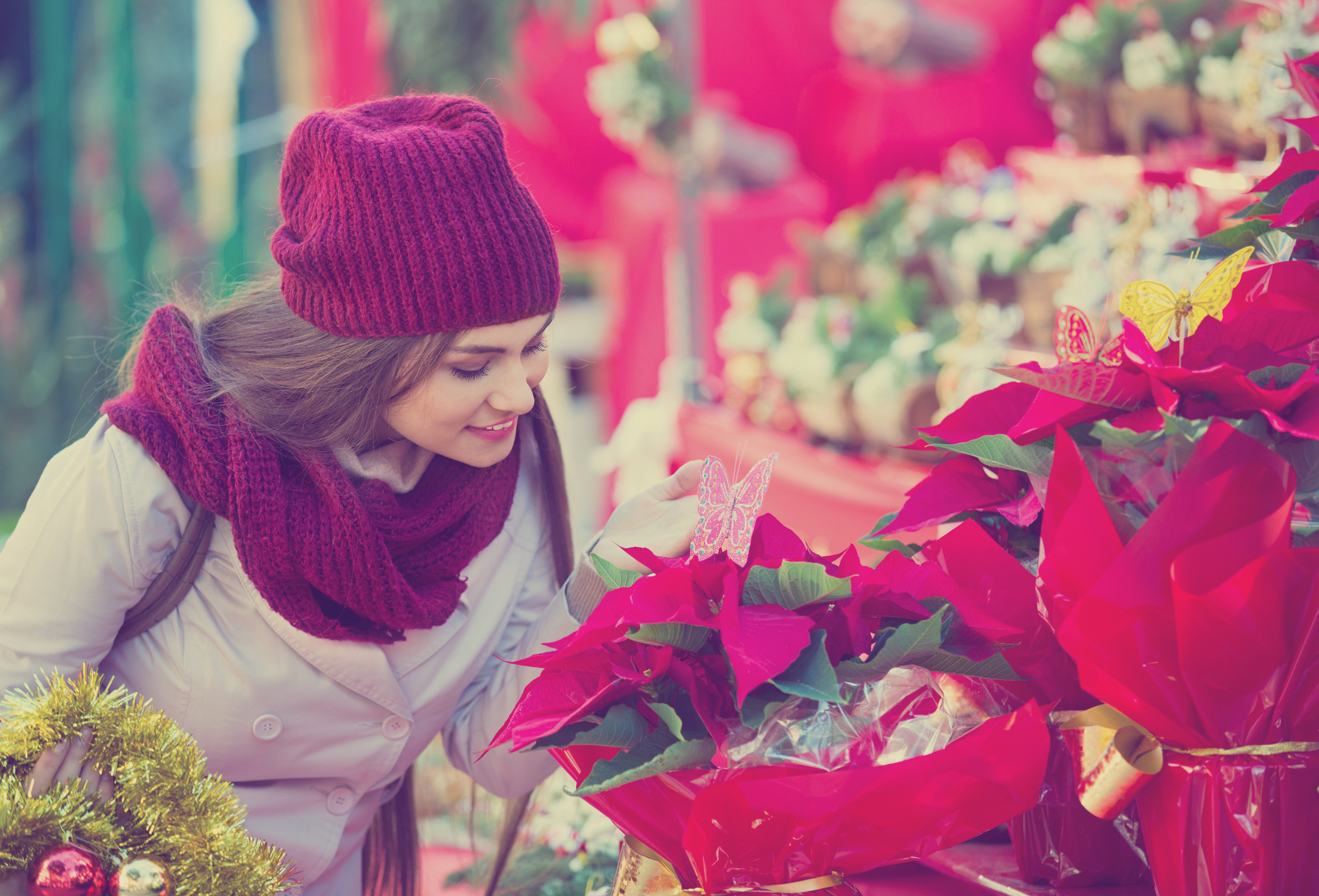 Generic photo of woman buying floral compositions at Christmas market (Thinkstock/PA)