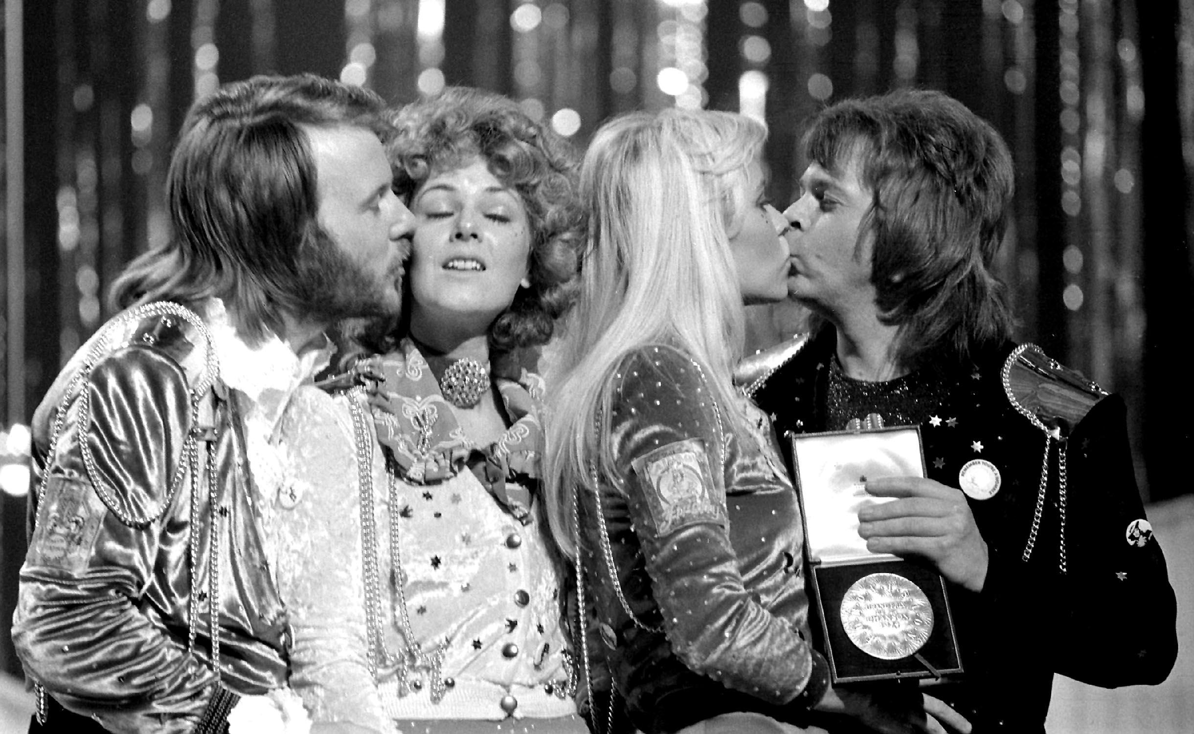 Abba congratulate each other in Brighton after winning Eurovision (PA)