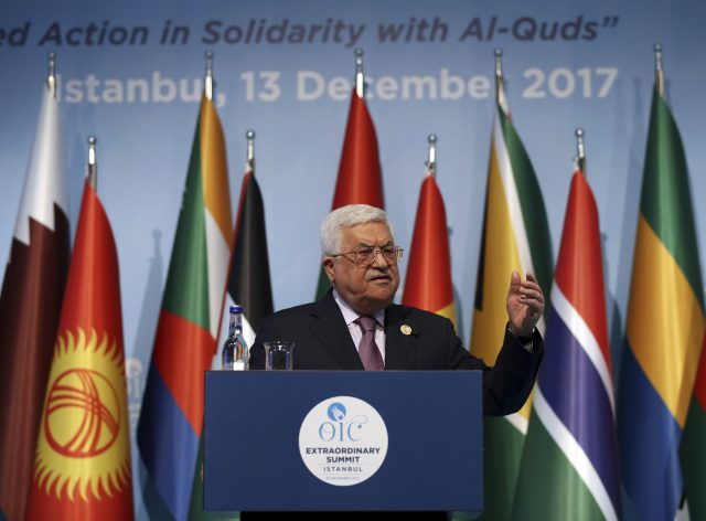 Mahmoud Abbas at the Organisation of Islamic Cooperation's Extraordinary Summit in Istanbul (Yasin Bulbul/Pool Photo via AP)