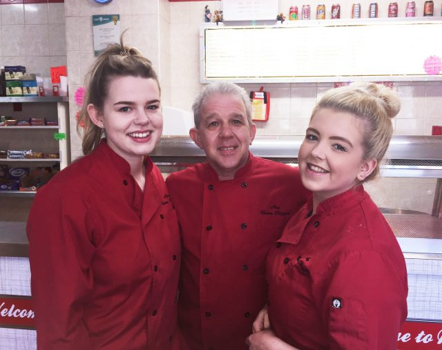 Lucy Beck, Jim Beck and Kerris Gentles of New Union Chippie in Camelon, near Falkirk. (PA)