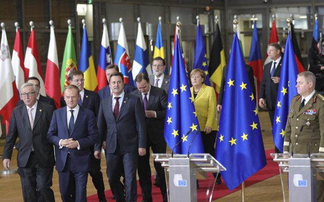 European leaders in Brussels (Olivier Matthys/AP)