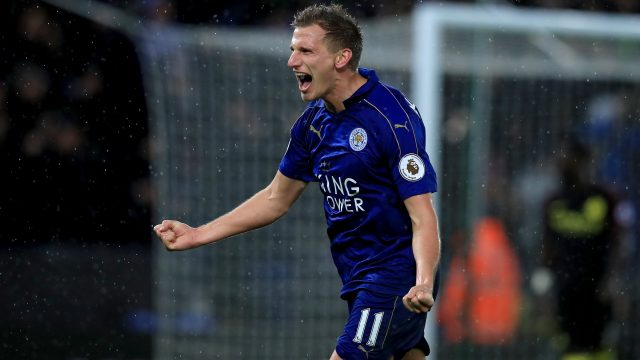 Marc Albrighton celebrates as Leicester beat Man City 4-2 at the Kingpower Stadium last season