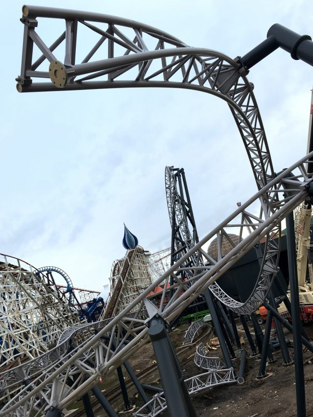 More than 100 tonnes of grey steel track have already been hoisted into position on the £16.25 million ride (Blackpool Pleasure Beach/PA)