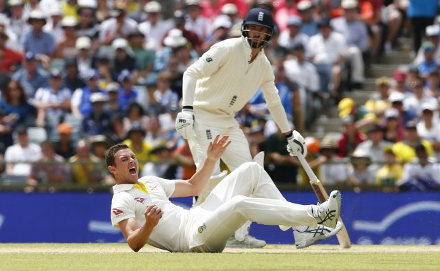 Josh Hazlewood takes the catch to dismiss Alastair Cook