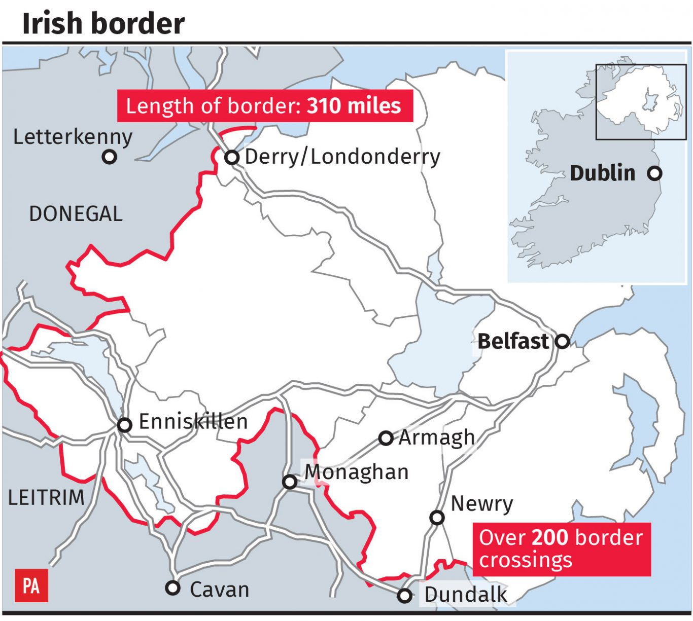 Map of the Irish border
