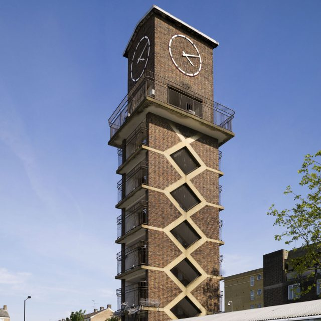 The Chrisp Street Market Clock Tower and The Festival Inn in Poplar, London (James O. Davies/Historic England/PA)