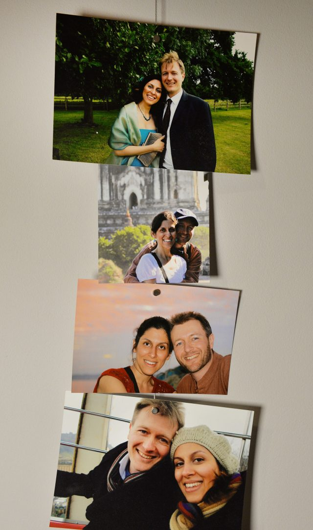Photos of Richard Ratcliffe and his wife Nazanin Zaghari-Ratcliffe (John Stillwell/PA)