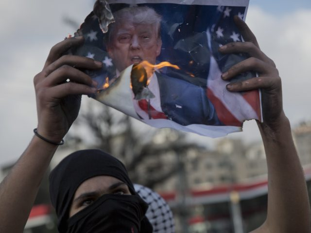Protests in the West Bank city of Ramallah following Donald Trump's decision