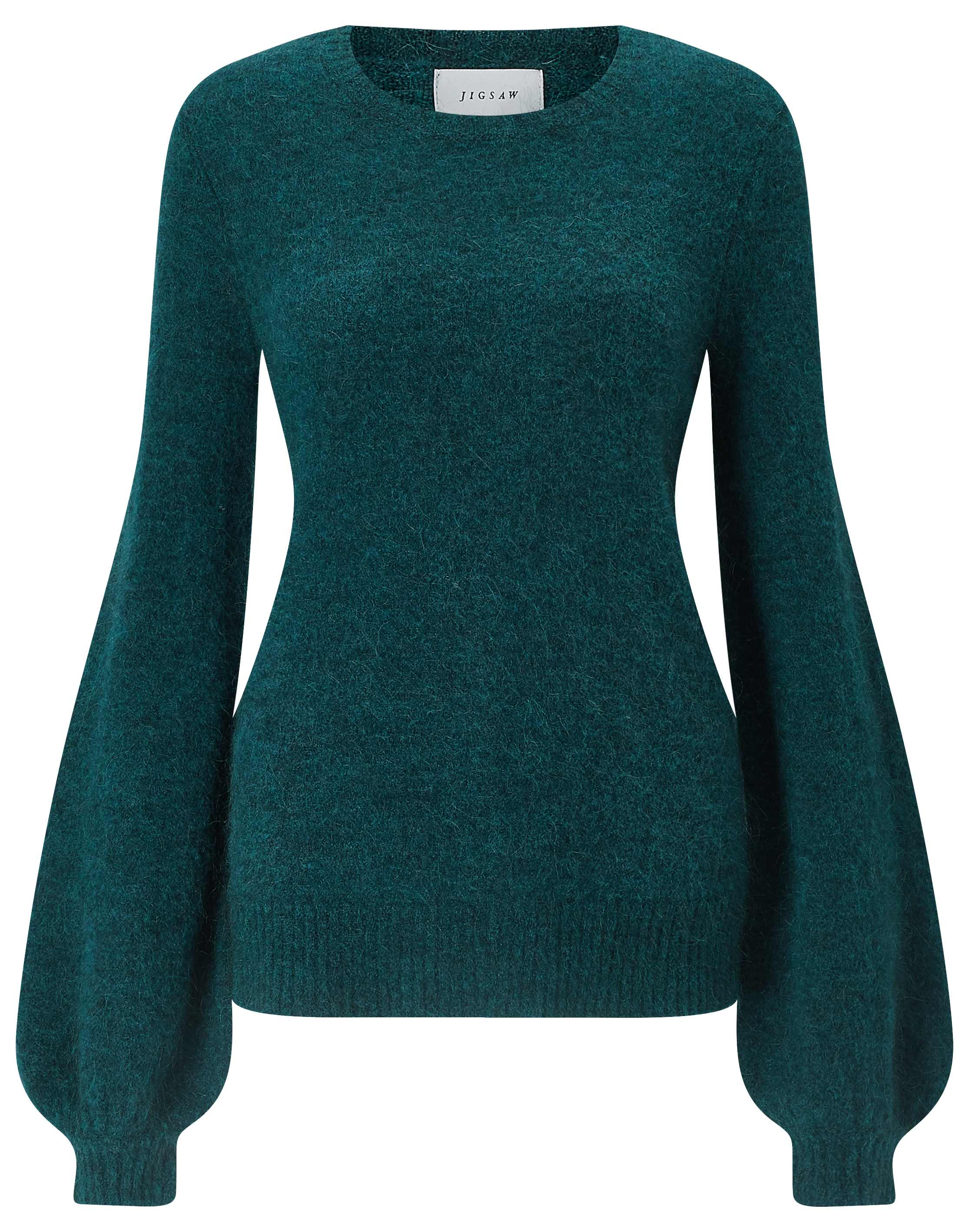 Jigsaw Petrol Mohair Balloon Sleeve Jumper