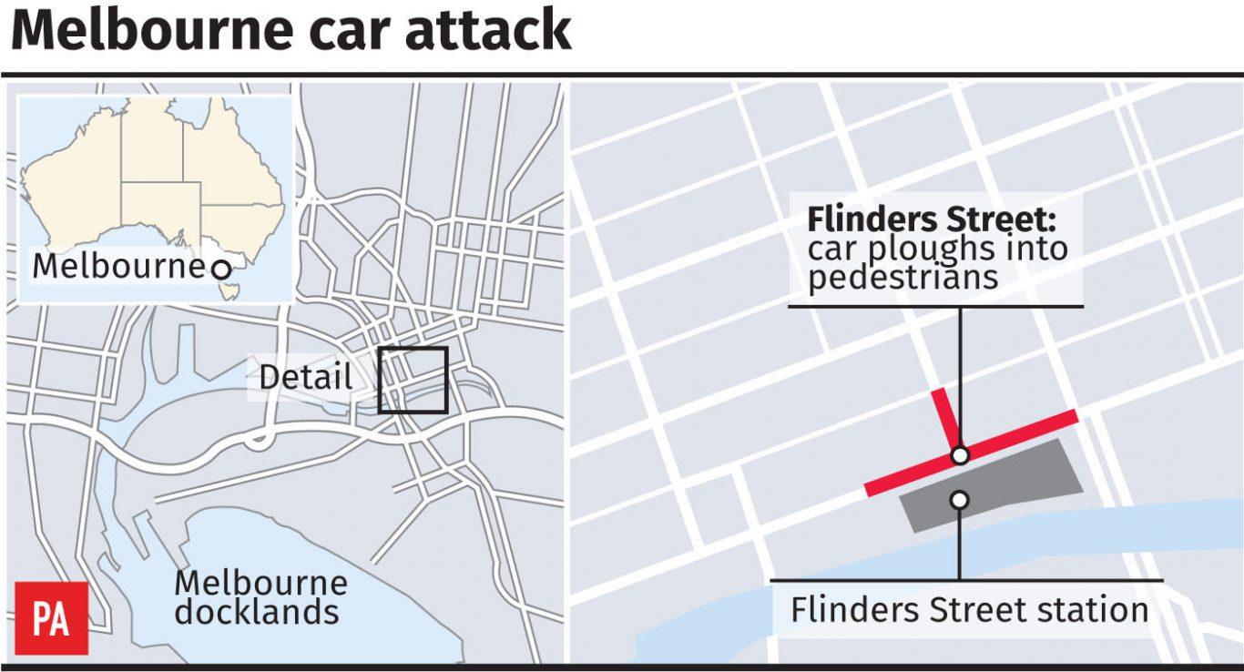 Graphic locates Flinders Street in Melbourne, Australia (PA Graphics)