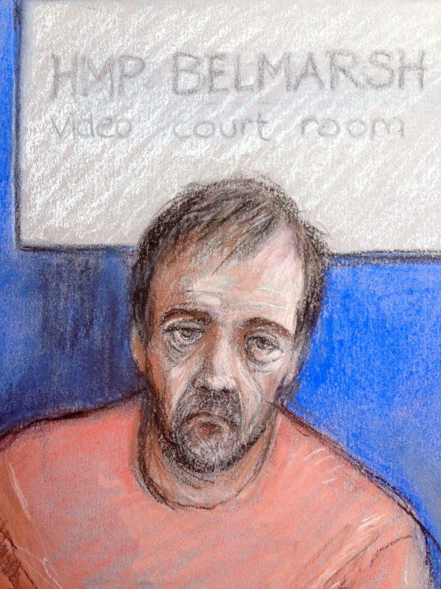 A court artist sketch of of Darren Osborne appearing via-videolink at an earlier hearing (Elizabeth Cook/PA)