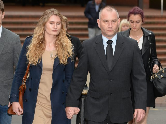 Peter Wilkinson leaves Birmingham Crown Court with his daughter Lydia (Ben Birchall/PA)