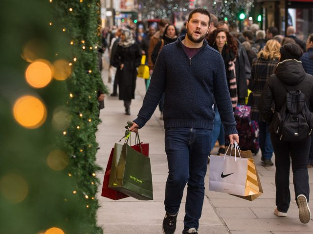 Shoppers have hit the streets of London in search of last-minute gifts