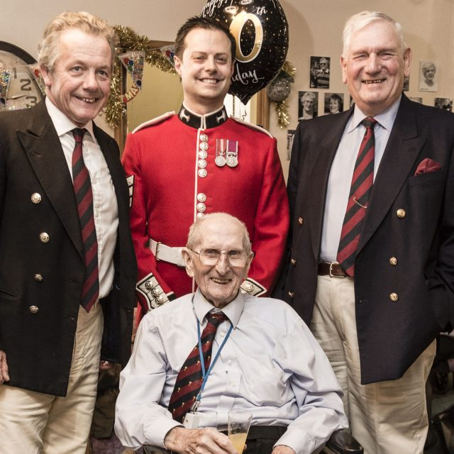 Mr Saunders with (L-R) Major Oliver Richardson, Sergeant Stuart Lang and Colonel Tony Davis