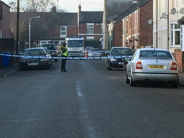 Police and the Bomb Disposal Unit outside a property in Chesterfield
