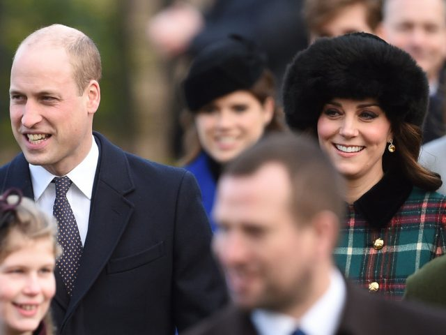 The Duke and the Duchess of Cambridge outside the church