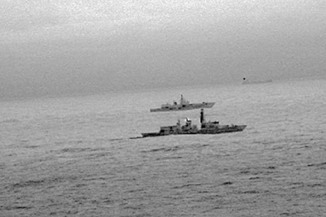 Royal Navy frigate HMS St Albans escorting a Russian warship through the North Sea (MoD/PA)