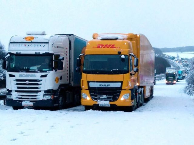 Lorries stuck between junctions one and two (Twitter/@simontab/PA)