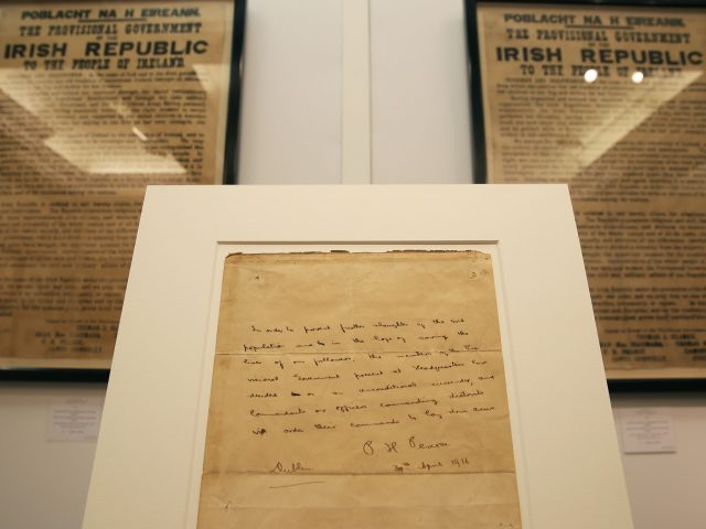 Patrick Pearse wrote the letter in his prison cell on April 30 1916 (Brian Lawless/PA)