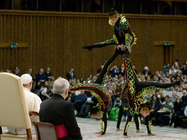 Artists of the Golden Circus perform in front of Pope Francis (L'Osservatore Romano/Pool Photo via AP/PA)
