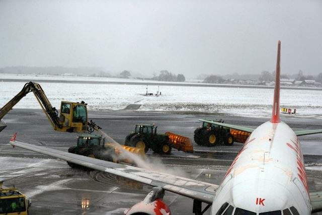 Snow ploughs at Luton Airport (Steve Parsons/PA)