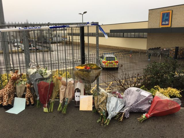 Floral tributes near the Aldi in Skipton where Jodie Willsher was killed (Pat Hurst/PA)