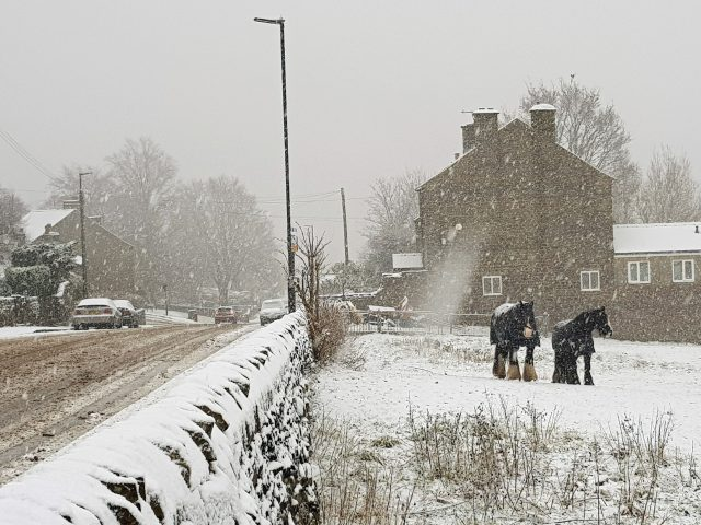 Snow covers a field and footpath in Loxley in north Sheffield (Edward Higgens/PA)
