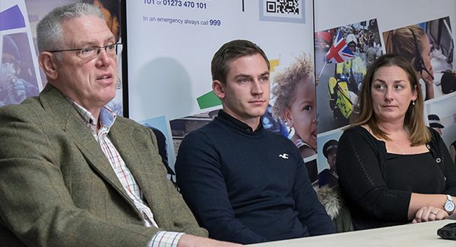 Valerie Graves's children Tim and Jemima and Valerie's sister's partner Nigel Acres speak during a press conference (Sussex Police/PA)