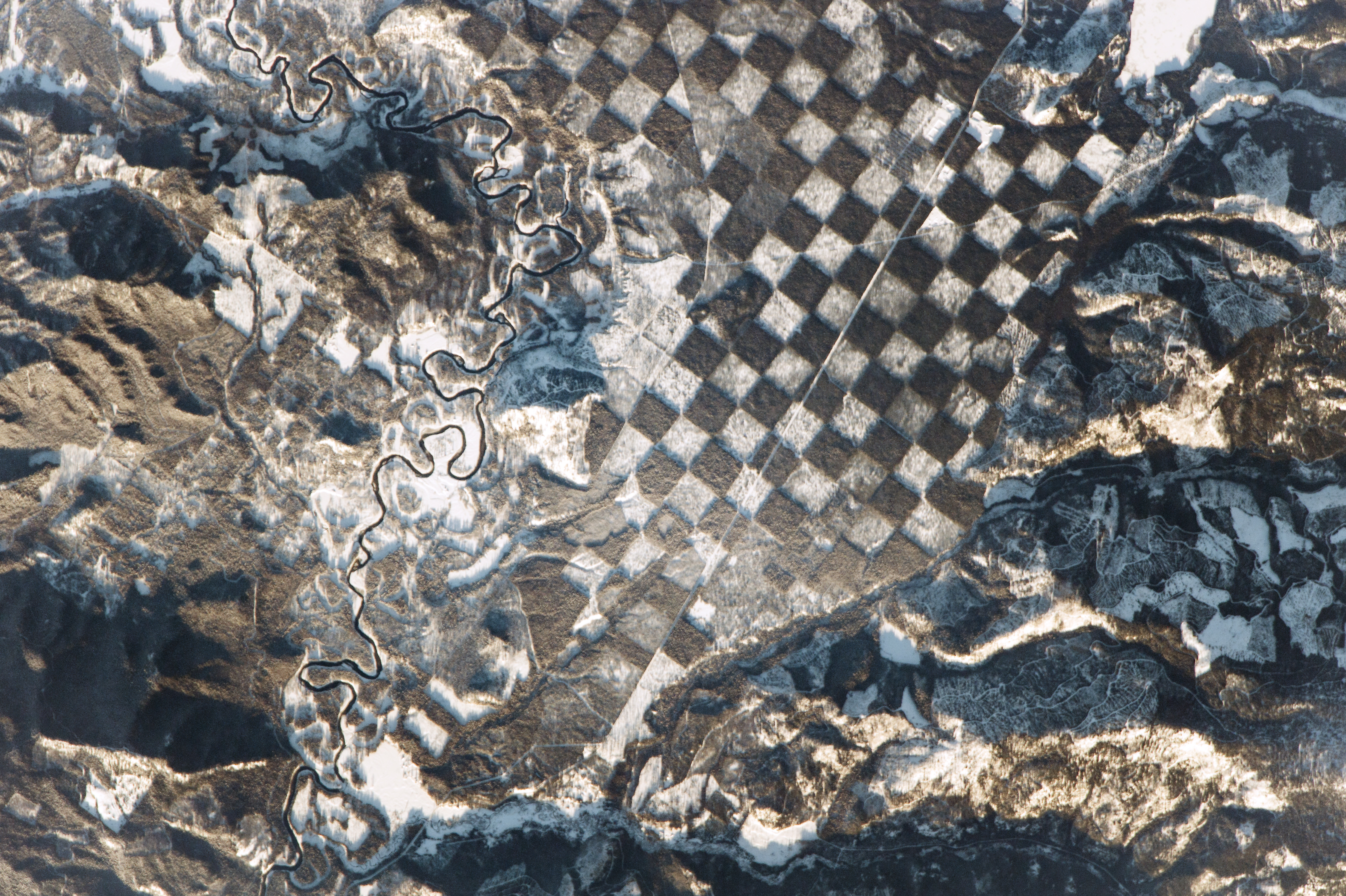 Checkerboard pattern along the Priest River in northern Idaho (Nasa)