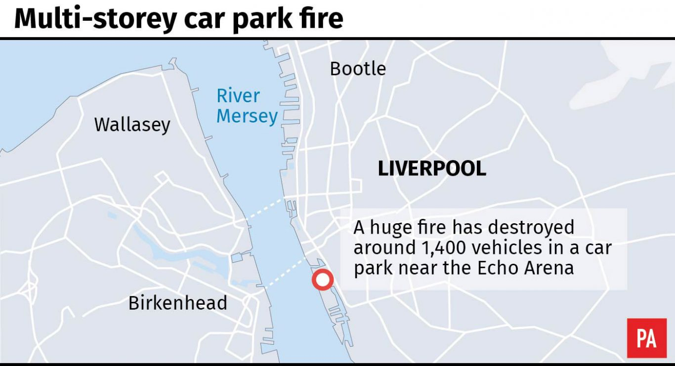 Map locates multi-storey car park fire in Liverpool.