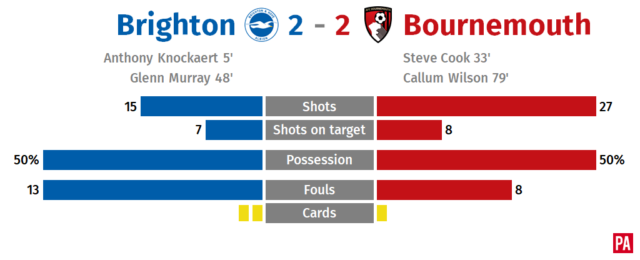 Callum Wilson's late strike secures point for Bournemouth at Brighton PLZ Soccer