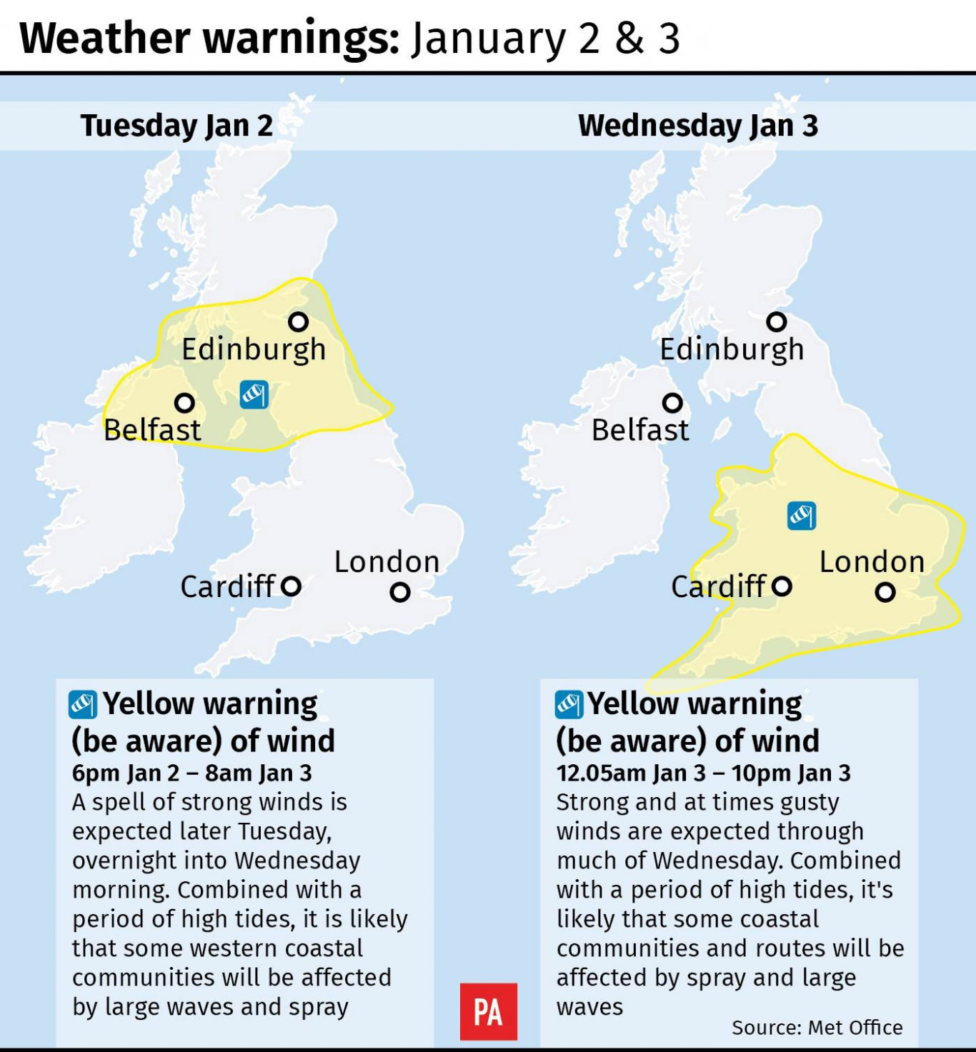 Weather warnings January 2 and 3