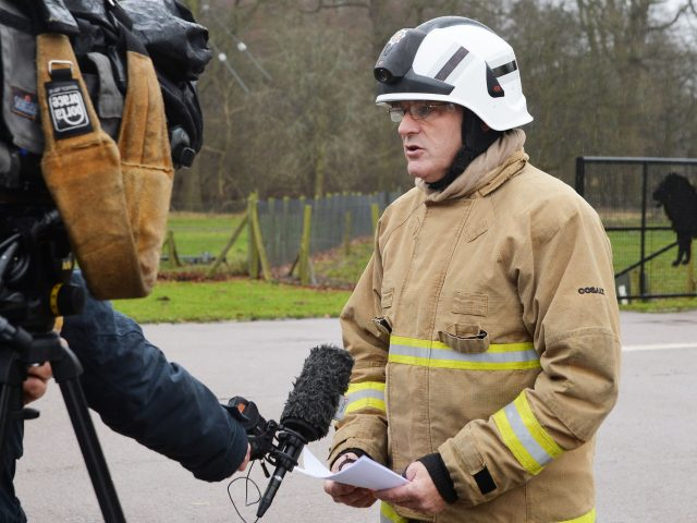 Fire Station Commander Paul Goddard updates the media