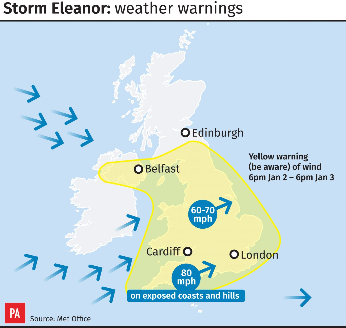 Storm Eleanor weather warnings