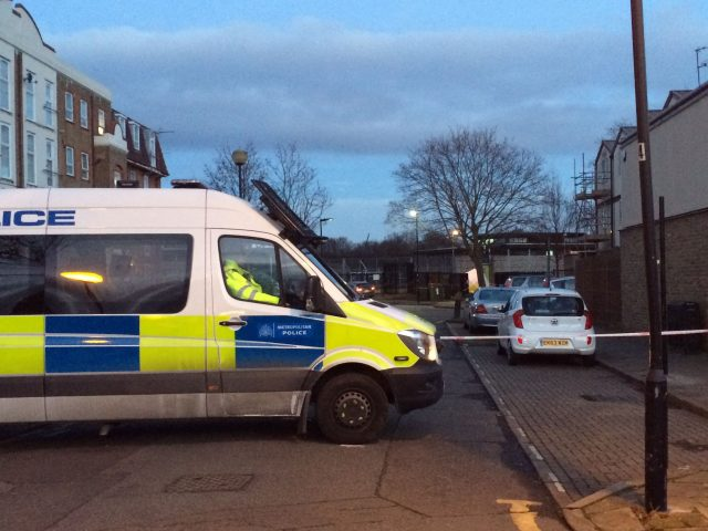 The scene of a stabbing in West Ham, east London