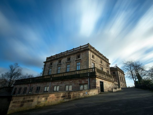A long exposure of Nottingham Castle as Storm Eleanor lashed the UK with violent winds