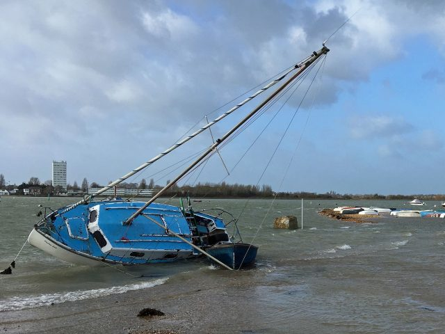 The scene at Langstone Harbour in Eastney, Portsmouth
