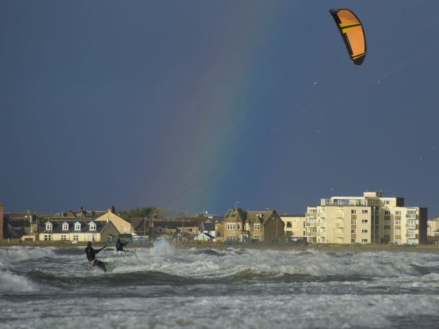 Kite surfers in Troon took advantage of the conditions