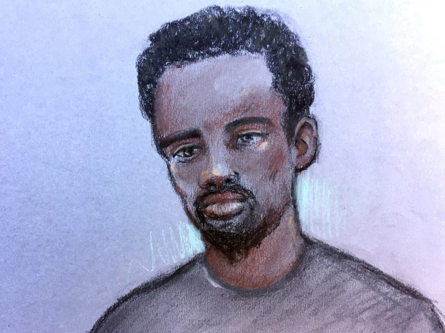 Court artist sketch of Kasim Lewis at Westminster Magistrates' Court